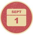 september 1st date on a single day calendar