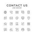 set line icons contact us vector image vector image