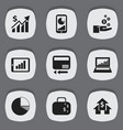 set of 9 editable statistic icons includes vector image