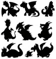set silhouette dragon on white background vector image vector image