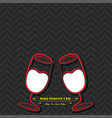 valentine card with cute wine glasses vector image vector image