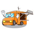 waving food truck with isolated on mascot vector image vector image