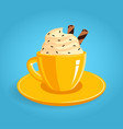 yellow cup coffee with foam vector image