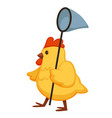 yellow fluffy chicken walks with nettle on long vector image