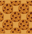 seamless pattern with chocolate chip cookies vector image