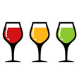 set glass with alcohol beverage vector image
