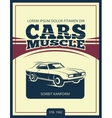 vintage poster with retro car 70s vector image