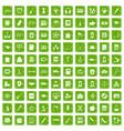 100 hi-school icons set grunge green vector image vector image