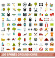 100 sports ground icons set flat style vector image