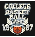 Basketball t-shirt graphic design vector image vector image