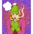 Beautiful girl in warm hat and gloves holding hot vector image
