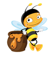bee with pot vector image vector image