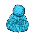 Bright blue winter knitted hat with pompon vector image