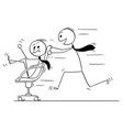 cartoon of businessman riding on chair enjoying vector image