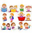 cartoon school children reading book and operating vector image vector image