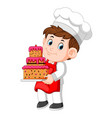 chef holding a plate with a delicious cake vector image vector image