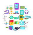 circuit icons set cartoon style vector image vector image
