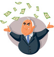 corrupt politician throwing bribe money in air vector image vector image