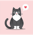 cute happy black cat in flat style vector image