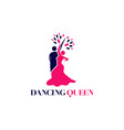 dancing queen logo design symbol icon vector image
