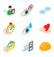 fend icons set isometric style vector image vector image
