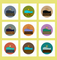 flat icons set of cracked earth underwater concept vector image vector image