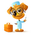 funny yellow dog doctor vet holding injector vector image
