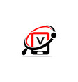 hand phone search initial v vector image vector image