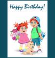 happy birthday greeting card of cute cartoon kids vector image