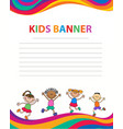happy children run on the banner template vector image vector image