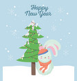 happy new year 2020 celebration cute rabbit with vector image vector image