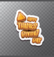 happy thanksgiving day label witn greeting vector image vector image