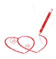 Hearts Drawn by pencil vector image vector image