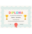 kid diploma certificate cute preschool design vector image