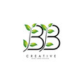 leaf letters bb b logo design with green leaves vector image vector image
