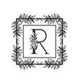 letter r alphabet with vintage style frame