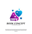 love book logo concept heart learning education vector image vector image