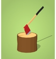 Low poly hatchet in the stump vector image