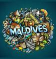 maldives hand drawn cartoon doodles vector image