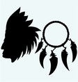 Portrait of american indian and dream catcher vector image vector image