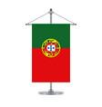 portuguese flag on the metallic cross pole vector image vector image
