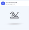 pyramid icon filled flat sign solid vector image vector image