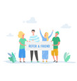 refer a friend concept with banner and people vector image