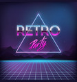 retro party 1980s digital landscape with space vector image