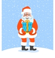 Santa Claus gives a Christmas gift box with bow vector image vector image