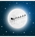 Santa Claus goes to sled reindeer of the moon vector image vector image