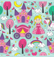 seamless pattern with a princess vector image vector image