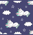 Seamless pattern with dreaming unicorn and clouds