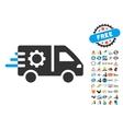 Service Car Icon With 2017 Year Bonus Symbols vector image vector image