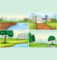 set of park landscape vector image vector image